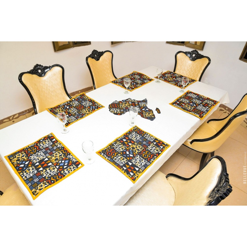 "Set de table africain, imprimé wax ""MIRA"""